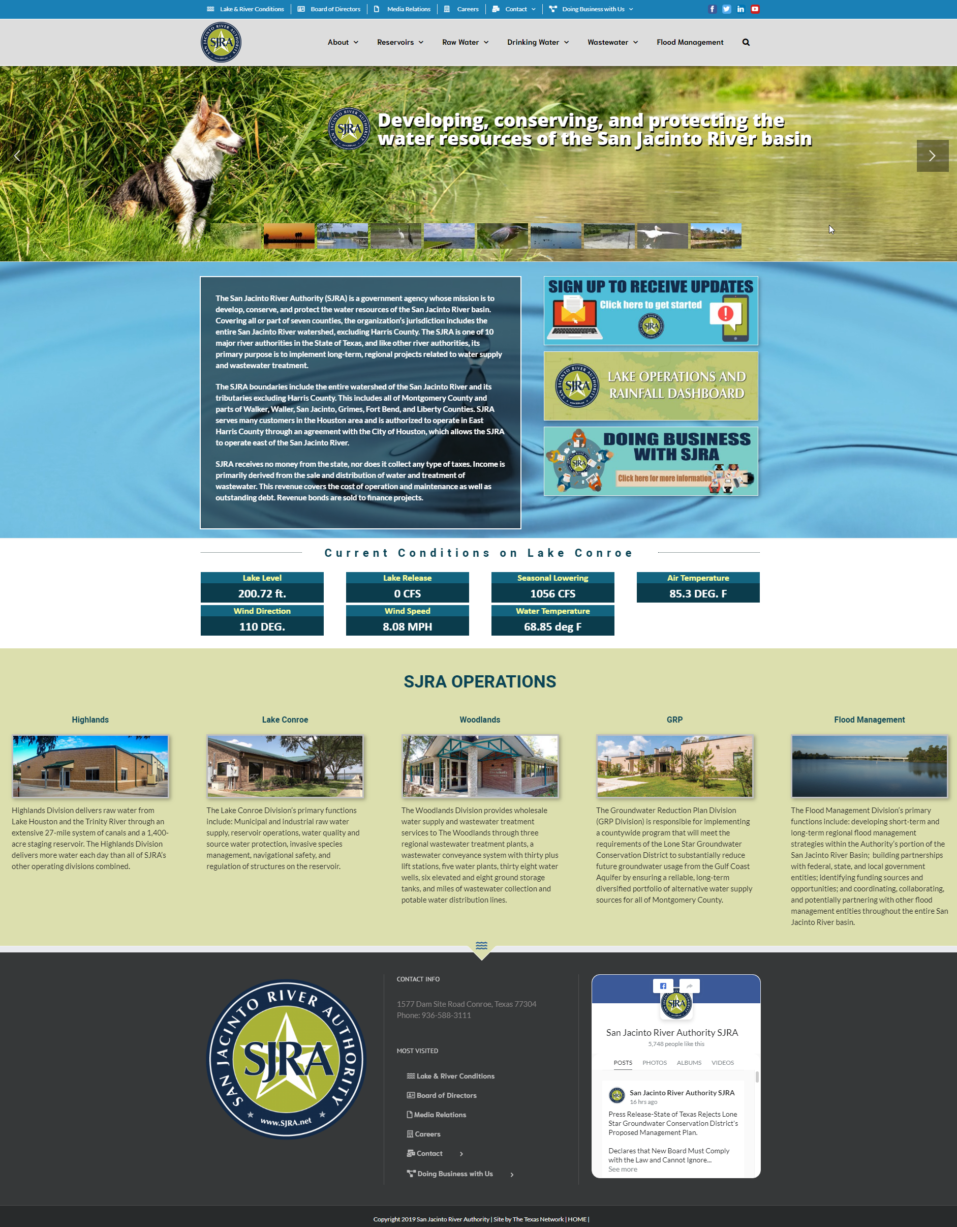 Website for the San Jacinto River Authority